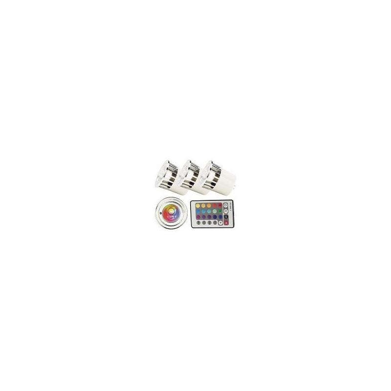 3 ampoules led multicolore rvb gu5 3 t l commande. Black Bedroom Furniture Sets. Home Design Ideas