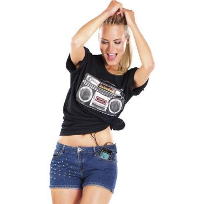 T-shirt Haut Parleur intégré avec égalisateur lumineux - Taille S