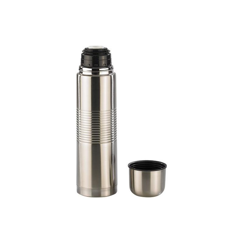 bouteille isotherme en inox avec gobelet bouchon grande capacit 1 l inox gris. Black Bedroom Furniture Sets. Home Design Ideas