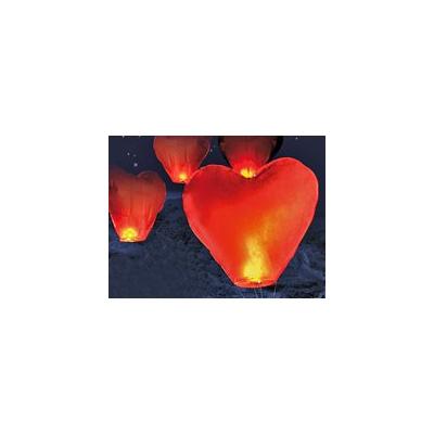 10 Lanternes volantes porte-bonheur en forme de coeur St Valentin