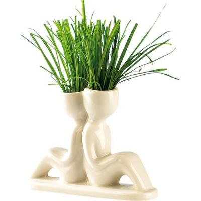 Décoration pour fenêtres - Petit pot en céramique - Couple s'appuyant l'un sur l'autre