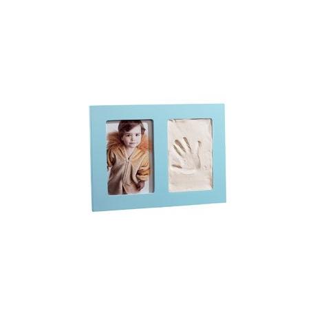 Cadre photo à gauche + empreinte main design à droite - bleu