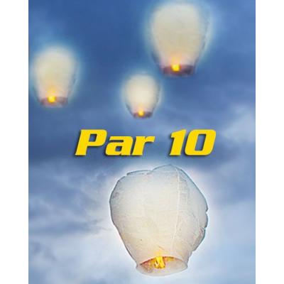 10 Lanternes volantes porte-bonheur blanches tradition asiatique