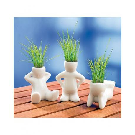 3 Décorations pour fenêtres - Petits pots en céramique - Homme en situation