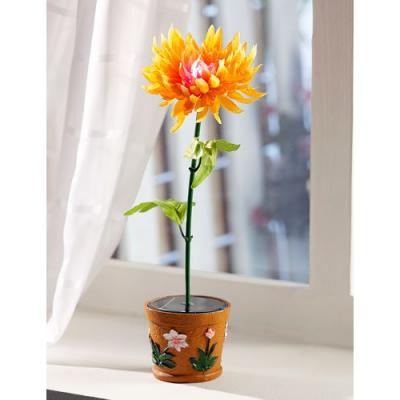 Plante artificielle Dahlia à LED solaire couleur changeante
