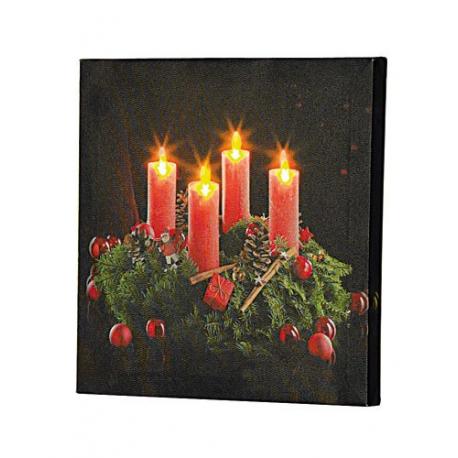 Tableau 4 bougies à LED Couronne de L'Avent