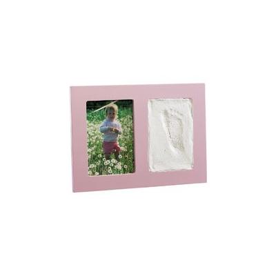 Cadre photo à gauche et empreinte à droite- rose