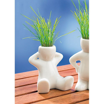 Décoration pour fenêtres - Petit pot en céramique - Position assise