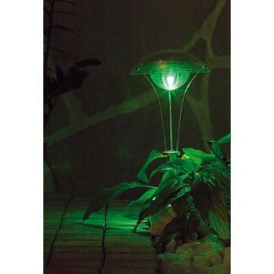 4 lampes de jardin solaires chromées à LED - 55 cm de hauteur