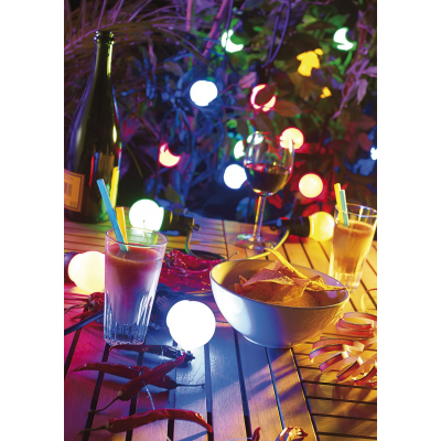 Guirlande d'ampoules 20 LED colorées - Convient pour l'extérieur - Longueur 13 m
