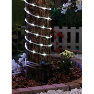 Guirlande d'ampoules 50 LED blanches avec capteur solaire rechargeable - Convient pour l'extérieur - Longueur 7 m