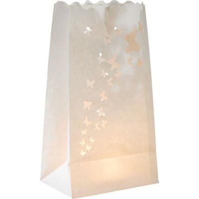 10 Photophores décoratifs en papier blanc étoilés