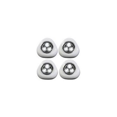 4 Lampes LED à piles avec interrupteur et fixation adhésive - Blanc