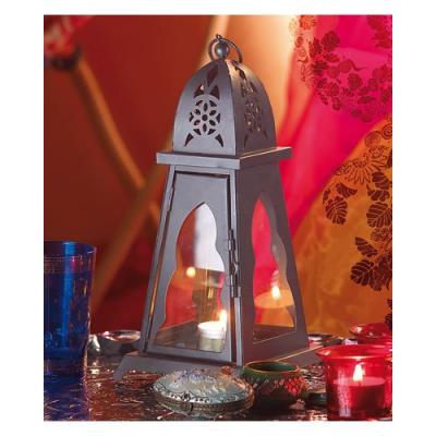 Lanterne d'extérieur - Verre transparent - Modèle orientale - 26 cm