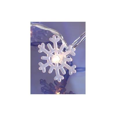Guirlande d'ampoules Flocons de neige 20 LED blanches - Parfait pour sapin - Longueur 3 m