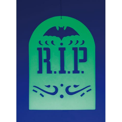 Décoration d'Halloween à suspendre - Pierre tombale phosphorescente
