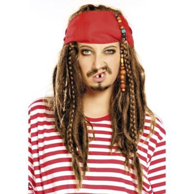 Perruque pirate châtains tressée - fêtes et soirées déguisement
