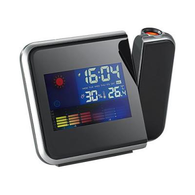 Réveil matin avec projection station météo couleur inclus thermomètre et hygromètre