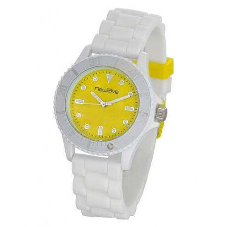 Montre stylé avec bracelet en silicone souple et très confortable , Blanc  jauni