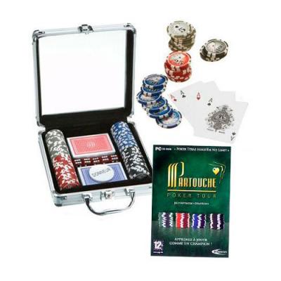 Malette de poker 100 Jetons + 2 jeux de cartes + Jeu PC - Partouche