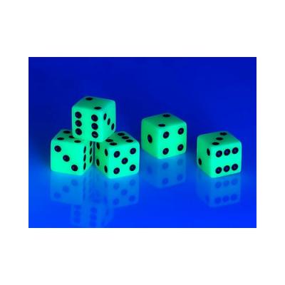 5 dés phosphorescents - Arrêtes des dés de 14 mm - Hauteur 10 cm