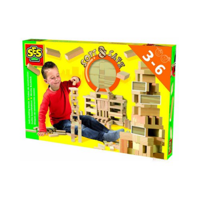 Set de cubes - Jeu de construction SES - 42 pièces en mousse imitation bois