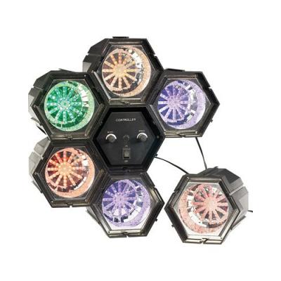 6 Spots de lumière multicolore 282 LED pour faire la fête avec microphone