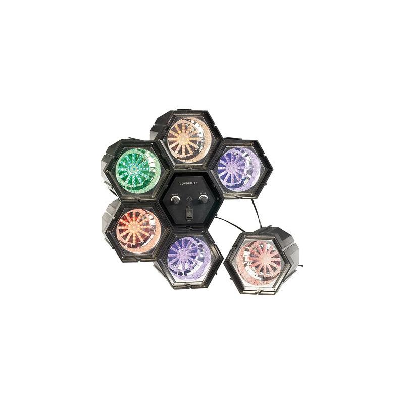 3e213e0637e 6 Spots de lumière multicolore 282 LED pour faire la fête avec microphone