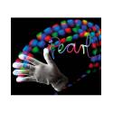 Paire de gants blancs luminescent avec LED aux bouts des doigts - Taille L