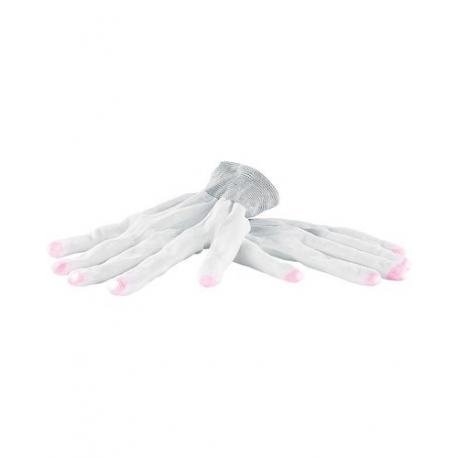 Paire de gants blancs luminescent avec LED aux bouts des doigts - Taille XL