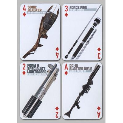 Jeu de cartes à jouer star wars motifs armes : sabres laser, pistolets laser