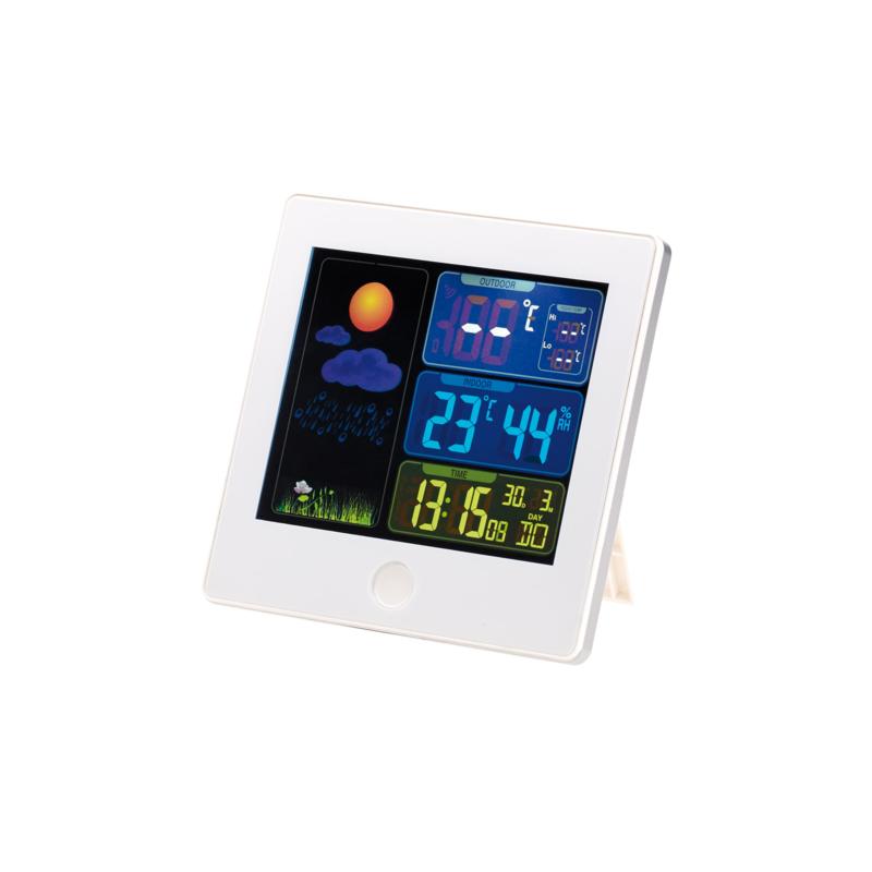 Station météo & horloge radio pilotée capteur extérieur fws 260 blanc
