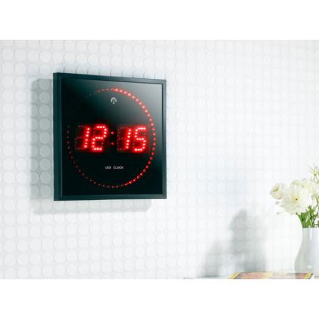 Horloge murale chiffre et secondes led (rouge ou bleu)