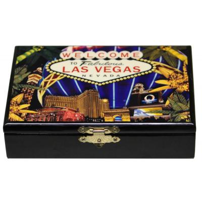 Jeux de 52 cartes à jouer plastifiées dans coffret en bois
