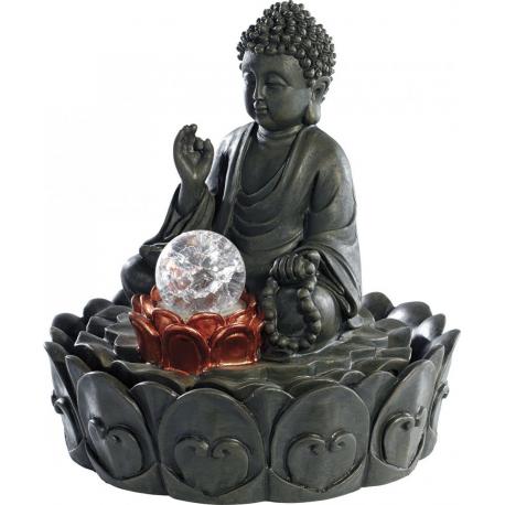 Fontaine d'ambiance lumineuse bouddha boule en verre