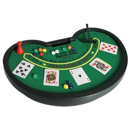 Mini jeu de blackjack de voyage jetons, table et cartes