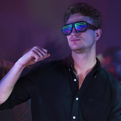 Lunettes à grille led 4 couleurs détecteur de musique light glasses