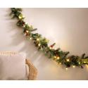 Guirlande de noël 180cm immitation branches de sapin et houx