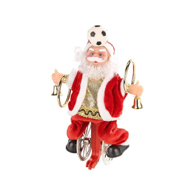 Père noël animé sur vélo ballon : décoration noël musicale